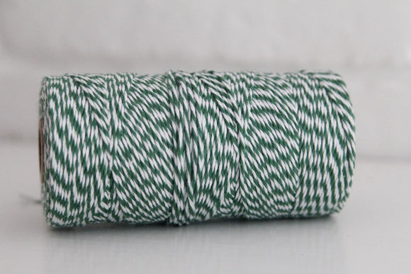 Divine Twine™ Striped Palos Verdes Green Cotton Twine for Crafts, Scrapbooks and Packaging