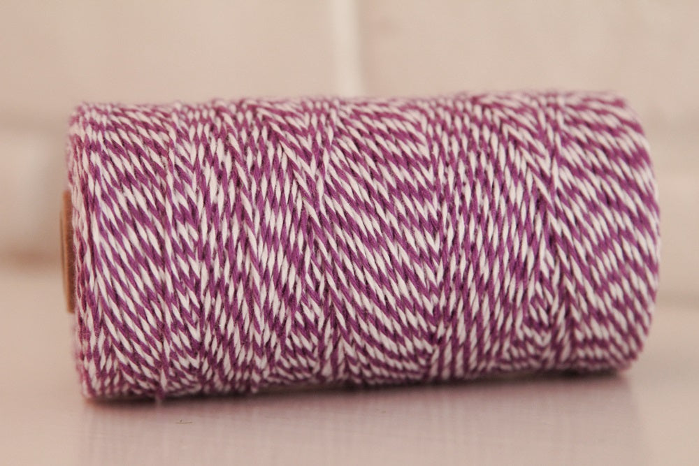 Twinery Striped Lilac Cotton Twine for Crafts, Scrapbook and Packaging