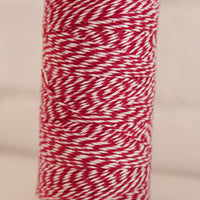 Twinery Striped Maraschino Red Cotton Twine for Crafts, Scrapbooks and Packaging