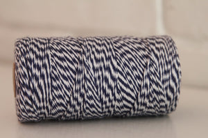 Twinery Striped Midnight Blue Cotton Twine for Crafts, Scrapbooks and Packaging