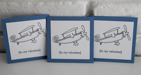 Airplane Valentine Mini Card Set, Kids Valentine Classroom School Cards