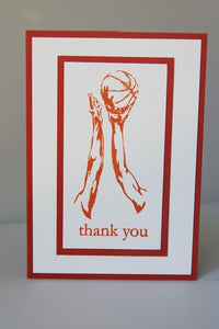 Basketball Thank You Greeting Card, Basketball Coach Thank You Card, Basketball Birthday Card