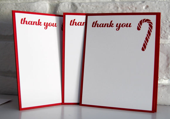 Candy Cane Christmas Thank You Card Set, Holiday Note Cards, Christmas Thanks