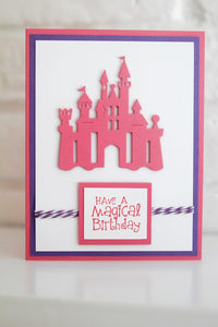 Pink Castle Princess Happy Birthdday Card, Magical Birthday Wishes for Girls