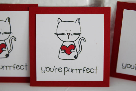 You're Purrrfect Cat Valentine Card Set, Kids Valentine Classroom Cards