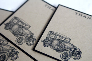 Classic Car Thank You Note Card Masculine Stationery Set, Note Cards for Him