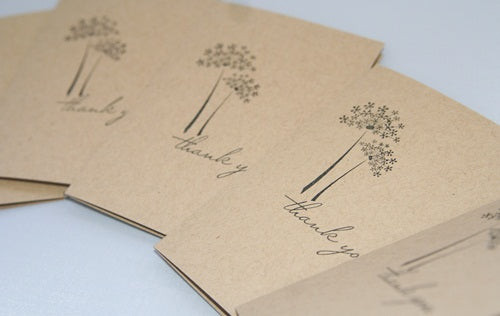 Kraft and Black Dandelion Thank You Note Card Stationery Set, Floral Note Cards for Her