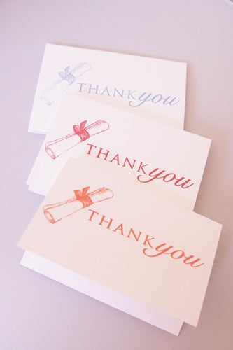 Graduation Diploma Thank You Note Card Set, Graduation Thanks