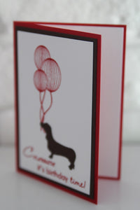 Dachshund Happy Birthday Card, Celebrate Birthday Dachshund