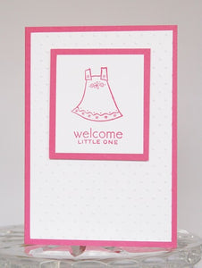 Pink Dress Welcome New Baby Greeting Card, Congratulations Baby