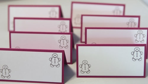Gingerbread Man Christmas Party Place Cards, Cookie Swap Food Tents, Holiday Candy Bar Tents