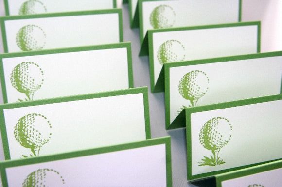 Golf Ball Wedding Place Cards, Escort Cards Golf Food Tents