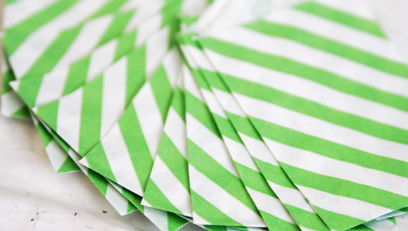 Bright Green Striped Little Bitty Party Favor Candy Treat Paper Bags 2.75 x 4 inches