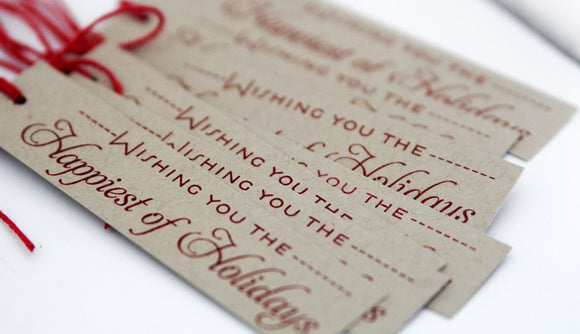 Happy Holidays Christmas Gift Tags Set, Christmas Tags for Hostess Gifts