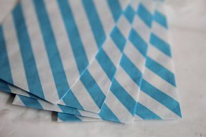 Aqua Diagonal Striped Little Bitty Party Favor Candy Treat Paper Bags 2.75 x 4 inches