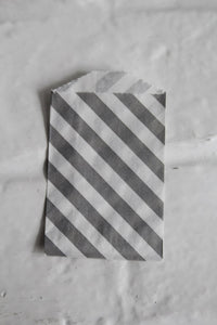 Gray Diagonal Striped Little Bitty Party Favor Candy Treat Paper Bags 2.75 x 4 inches