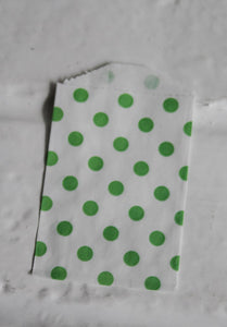 Green Dot Little Bitty Party Favor Candy Treat Paper Bags 2.75 x 4 inches