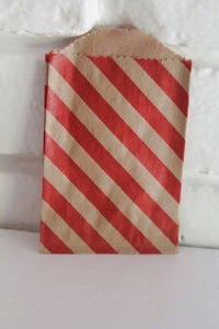 Kraft and Red Stripe Little Bitty Party Favor Candy Treat Paper Bags 2.75 x 4 inches