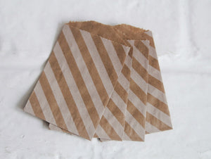 Kraft and White Striped Little Bitty Party Favor Candy Treat Paper Bags 2.75 x 4 inches