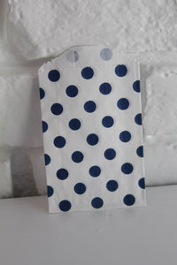 Navy Dot Little Bitty Party Favor Candy Treat Paper Bag 2.75 x 4 inches