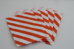 Orange Stripe Little Bitty Party Favor Candy Treat Paper Bag 2.75 x 4 inches