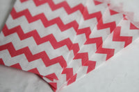 Pink Chevron Little Bitty Party Favor Candy Treat Paper Bags 2.75 x 4