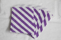 Purple Striped Little Bitty Party Favor Candy Treat Paper Bags 2.75 x 4 inches