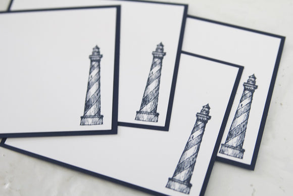 Lighthouse All Occasion Note Card Set, Nautical Stationery, Masculine Note Cards