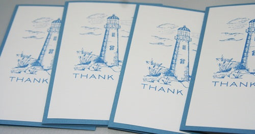 Lighthouse Thank You Note Card Set Nautical Stationery Set