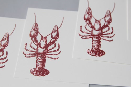 Lobster Note Card Stationery Set, Beach Wedding Thank You Cards, Wedding Guest Book Alternative