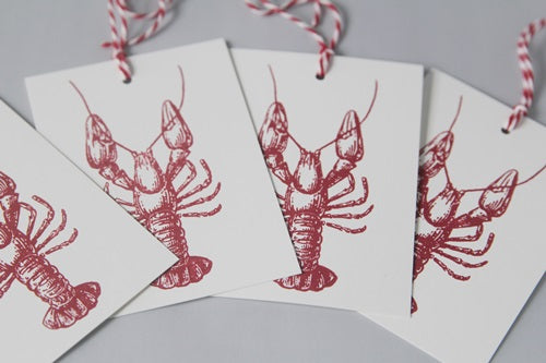 Red Lobster Gift Tag Set, Beach Wedding Party Favor Tags