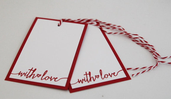 With Love Wedding Favor Gift Tag Set, Valentine Party Gift Favor Treat Tags