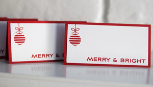 Christmas Dinner Place Card Set, Holiday Place Cards, Ornament Place Cards and Food Tents, Bag Toppers