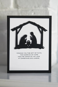 Merry Christmas Nativity Greeting Card, Faith Hope and Love Christmas Card, Religious Holiday Card