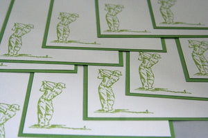 Golfer Note Cards Set, Golf Stationery, Masculine Note Cards