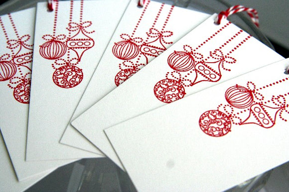 Hanging Red Ornaments Christmas Present Gft Tag Set, Holiday Hostess Tags