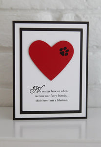 Paw Print on Heart Pet Sympathy Card, Loss of Pet Card