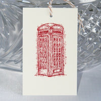 Vintage Red Phone Box Gift Tag Set, British Telephone Booth Party Favor Tags