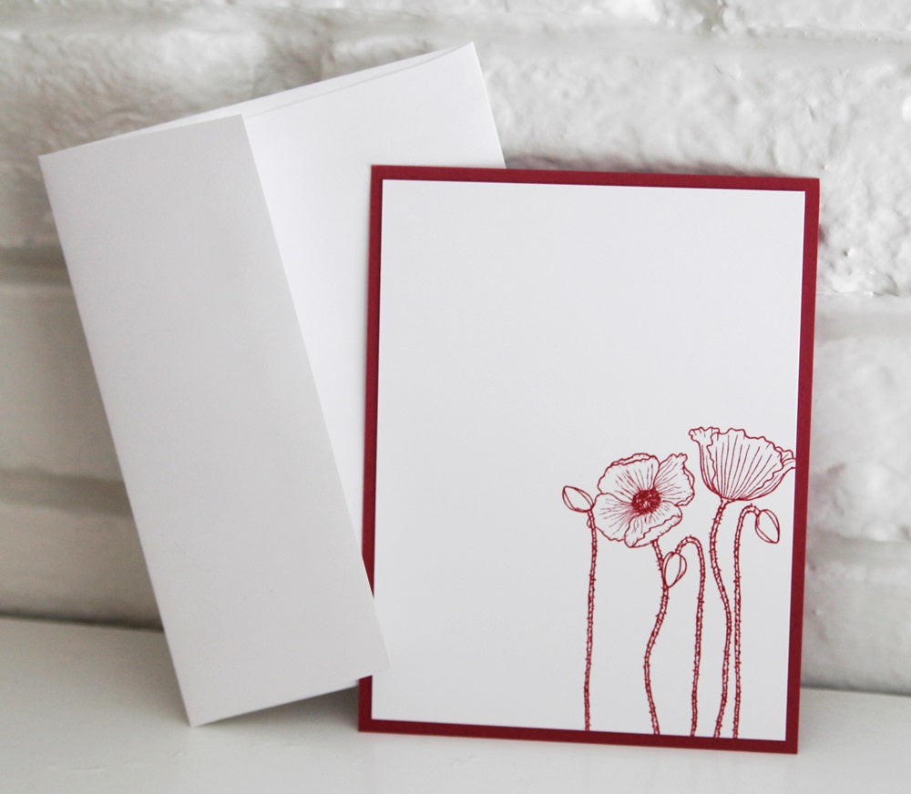 all occasion pink flower note card set  floral stationery