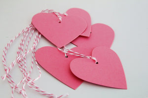 Pink Heart Gift Tags, Wedding Shower Favor Tags, Candy Bar Tags Valentine's Day