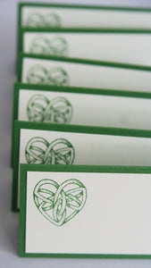 Celtic Heart Wedding Place Cards, Irish Wedding Escort Cards or Food Tents, Favor Bag Toppers