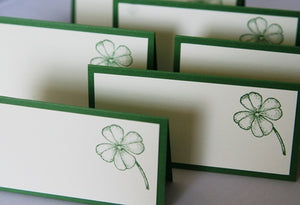 Green Shamrock Wedding Place Cards, Celtic Wedding Escort Cards, St, Patrick's Party Food Tents, Shamrock Favor Treat Toppers