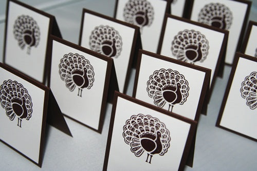 Thanksgiving Turkey Place Card Set, Holiday Dinner Place Cards Food Tents
