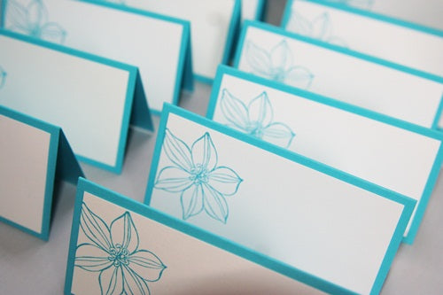 Turquoise Flower Wedding Place Card Set, Floral Escort Cards and Food Tents