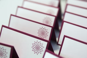 Christmas Poinsettia Place Cards, Holiday Wedding Escort Cards, Christmas Party Place Cards and Food Tents