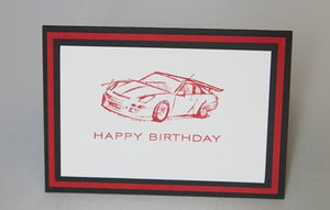 Race Card Happy Birthday Greeting Card, Masculine Birthday Card for Him