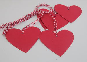 Red Heart Wedding Shower Favor Tags, Valentine's Day Gift Tags, Heart Decorations