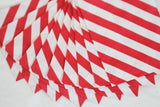 Red Diagonal Striped Little Bitty Party Favor Candy Treat Paper Bags 2.75 x 4 inches