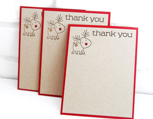 Reindeer Christmas Thank You Note Cards Kids Christmas Thank You