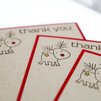 Reindeer Christmas Thank You Note Cards, Kids Christmas Thank You Notes, Holiday Thank You Cards